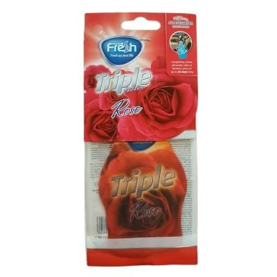 Odorizant auto Rose, carton cu agatatoare, Freshway