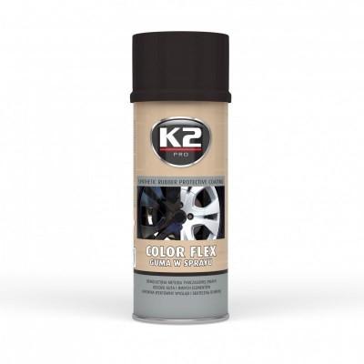 Spray vopsea cauciucata K2 COLOR FLEX 400ml negru lucios