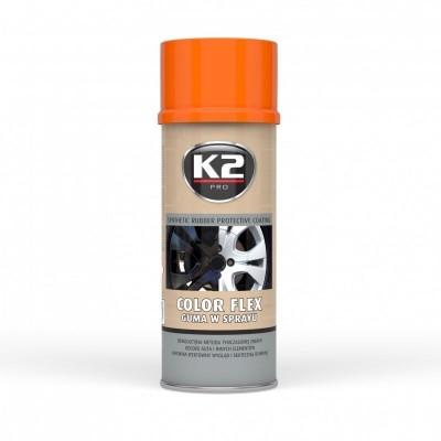 Spray vopsea cauciucata K2 COLOR FLEX 400ml portocaliu